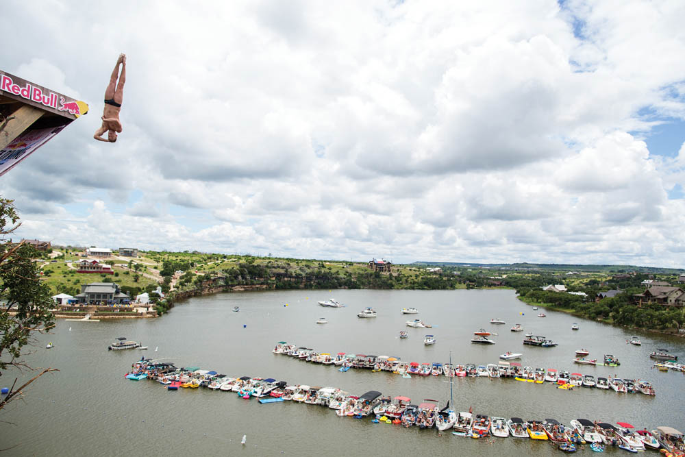 Red Bull Cliff Diving, Possum Kingdom Lake, Texas – Photo Credit: Alazs Gardi / Red Bull Content Pool